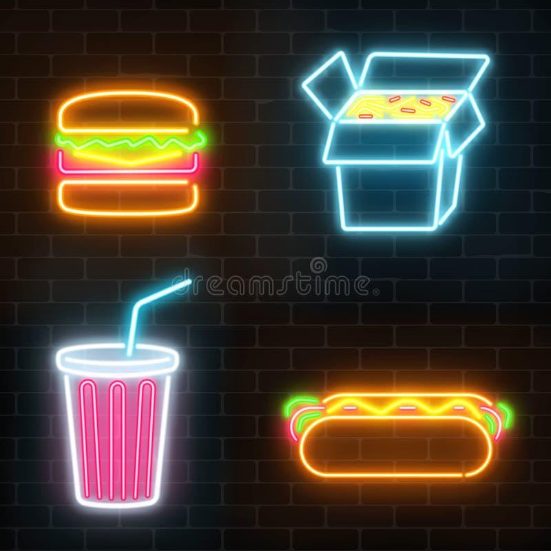 Set fastów food neonowych znaków ona ściana z cegieł ciemny tło ilustracji