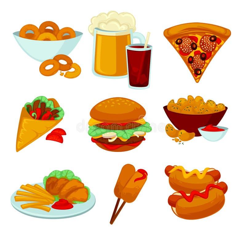 Set fastów food posiłki Inkasowe kreskówki przekąski ikony royalty ilustracja