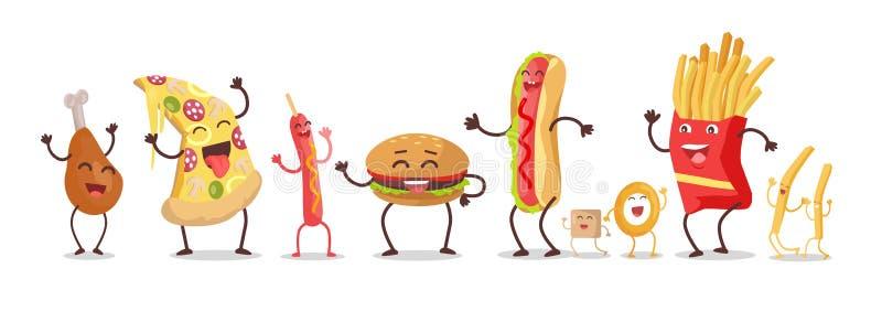 Set fastów food produkty Wektorowi w Płaskim projekcie ilustracja wektor
