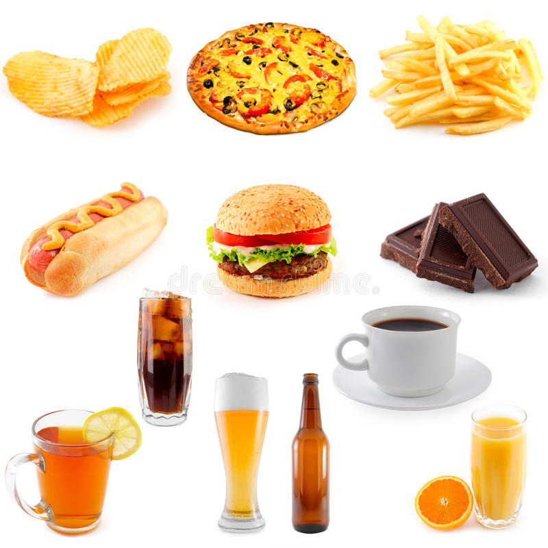 Set of fast food. Ingredients stock photography