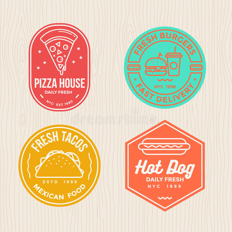 Set of fast food badges emblem logo banner for pizza, hamburger, tacos and hot dog restaurant. royalty free illustration