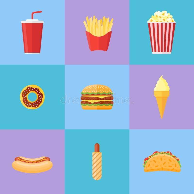 Set of fast food flat icons. Vector illustration. vector illustration