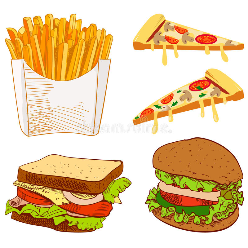 Set of fast food hand drawn VECTOR illustration on blue background. Fries, pizza slices, sandwich, burger. stock illustration