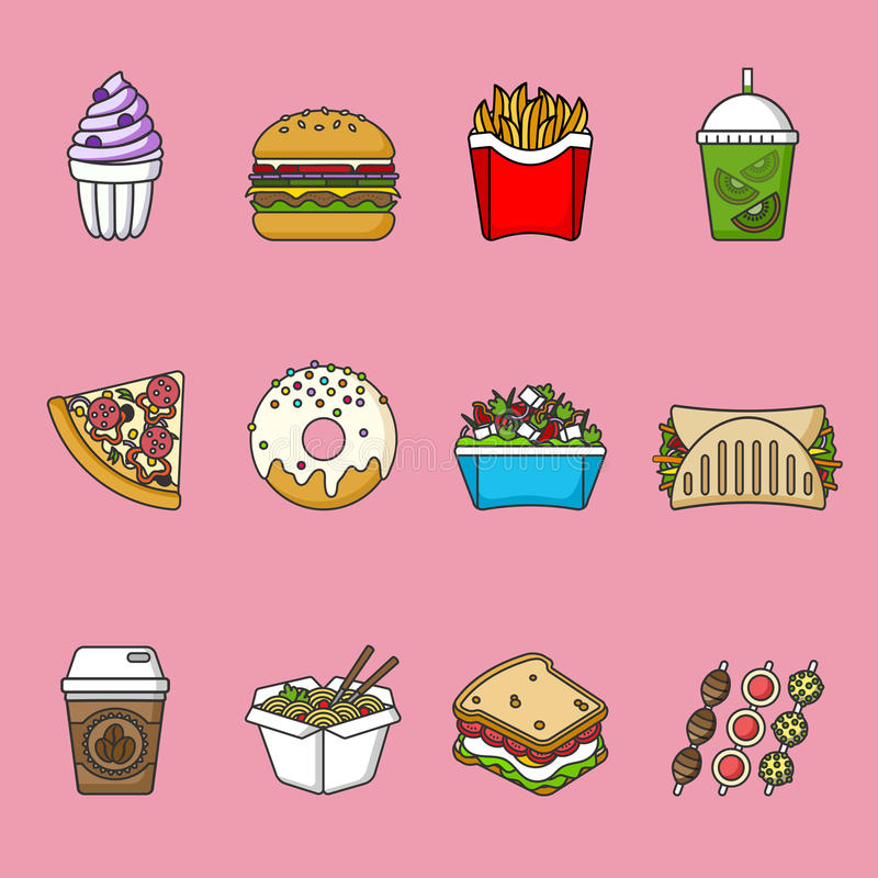 Set of fast food icons. Drinks, snacks and sweets. Colorful outlined icon collection. royalty free illustration