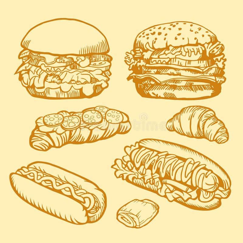 Set of Fast food. Illustration of burgers, hot dogs and croissants. Retro design. royalty free stock images