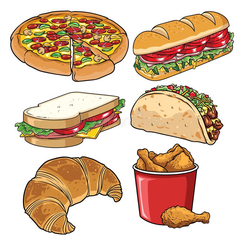 Set of fast food illustration white royalty free illustration