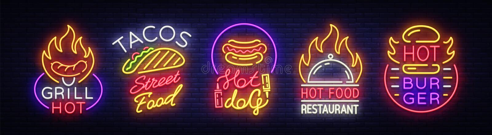 Set Fast Food Logos. Collection neon signs, Street Food Hot Grill, Tacos, Hot Dog, Burger cafe, Restaurant. Design vector illustration
