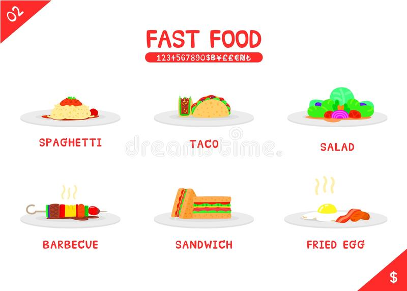 Set of fast food menu. Spaghetti taco salad barbecue sandwich and fried egg, Flat vector isolated icon on white background, Name number and money symbols vector illustration