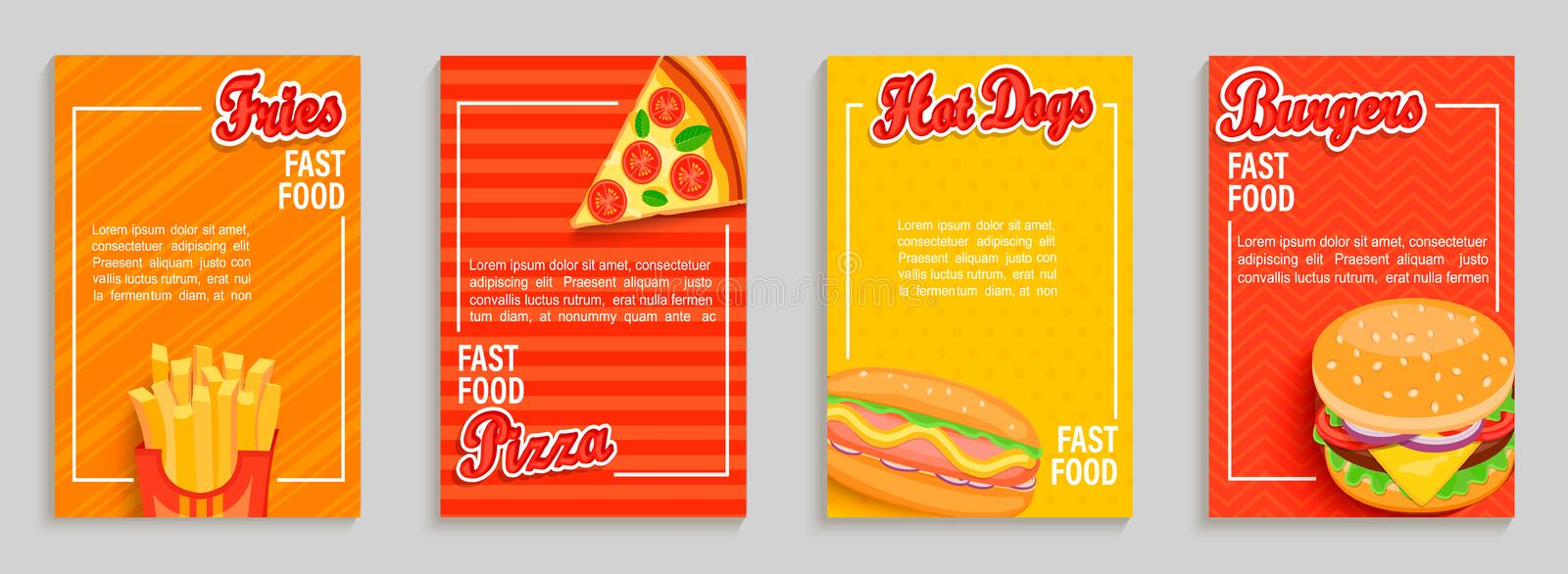 Set of fast food shop flyers,banners. stock illustration