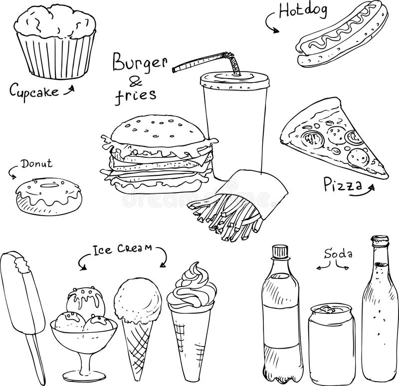 Set Of Fast Food Sketch Stock Vector. Illustration Of