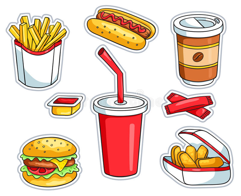 Set of fast food stickers stock illustration