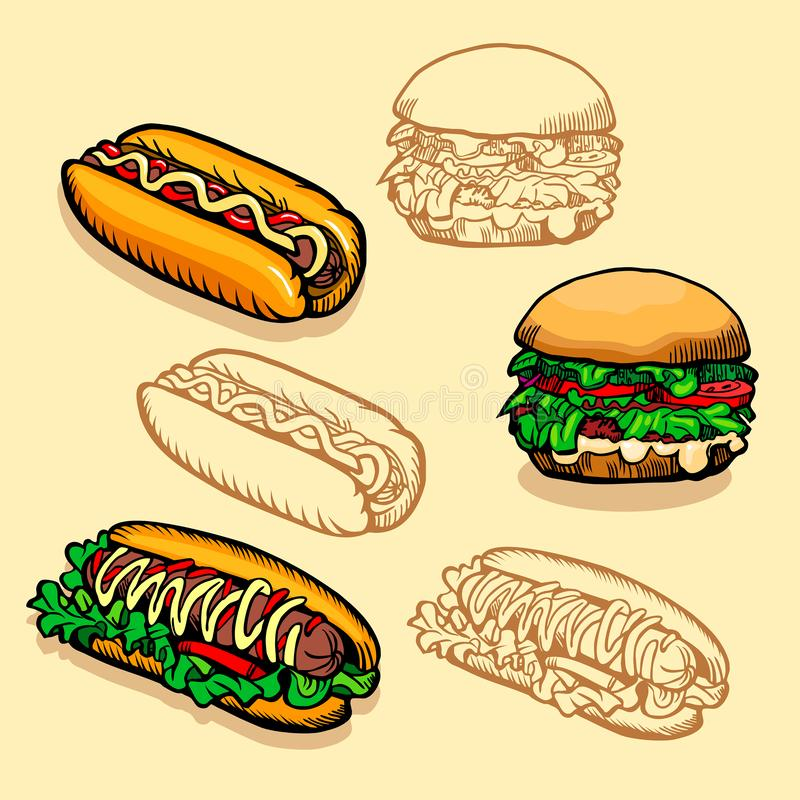 Set of Fast food. Illustration of burgers and hot dogs. Retro design. royalty free stock photography