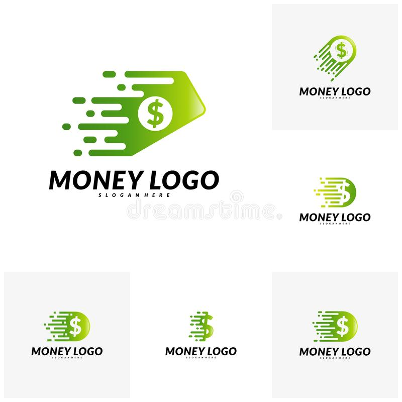 Set of Fast money logo Design Concept Vector. Fast Coin logo Template.  vector illustration