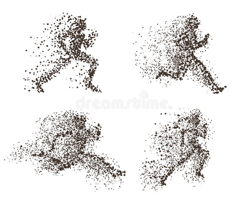 Set of fast running man abstract illustrations. Divergent particles vector concepts. Can be used for Sport and Fitness club poster, for logo, t-shirt design vector illustration