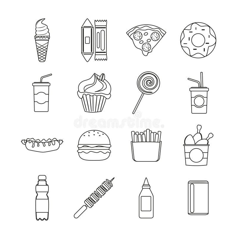 Set fasta food konturu wektorowe ikony ilustracja wektor