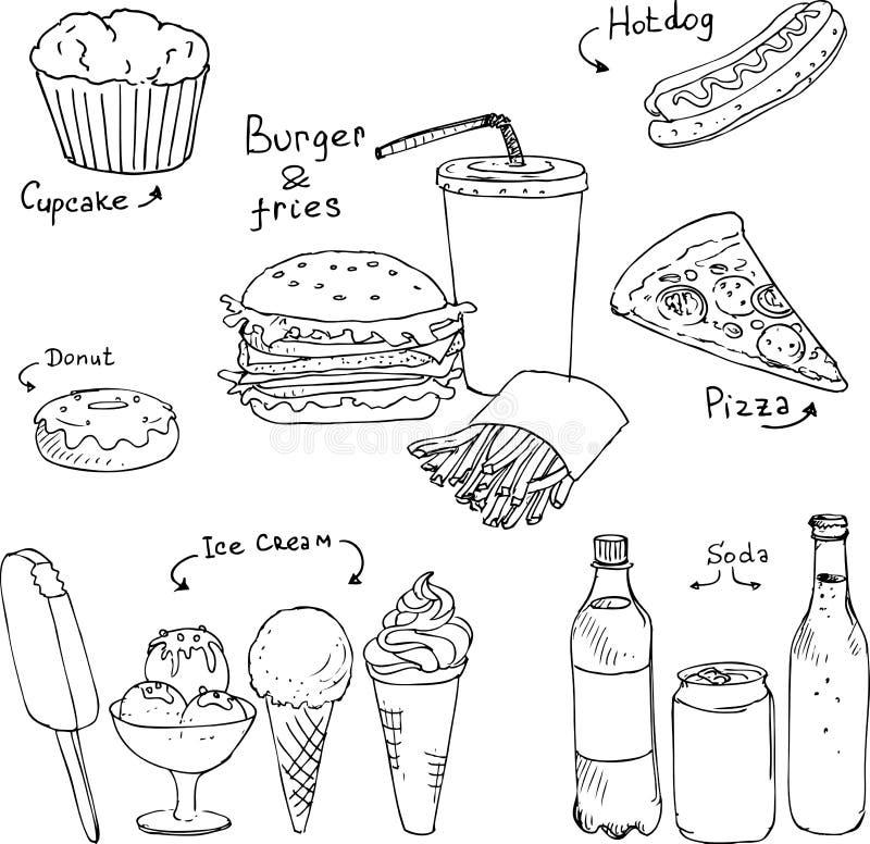 Set fasta food nakreślenie ilustracja wektor