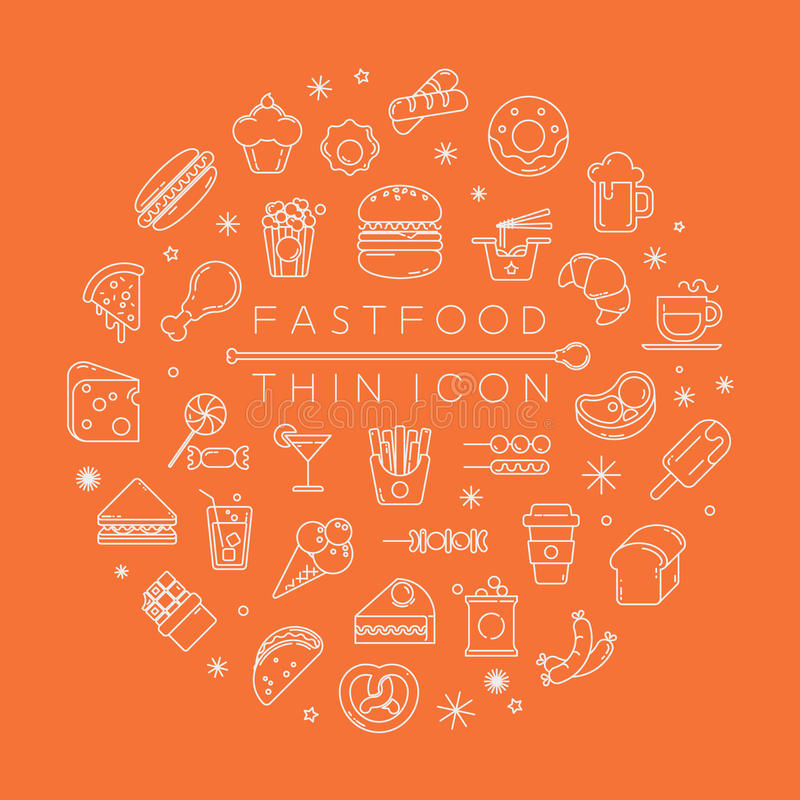 Set of fastfood icons. Eps10 vector format royalty free illustration