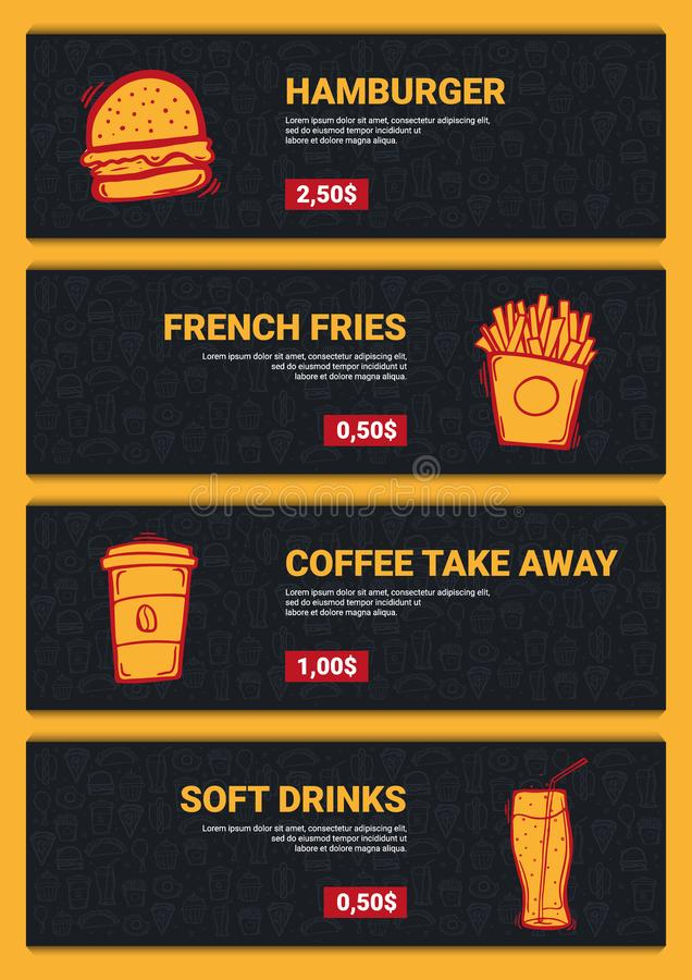 Set of FastFood Menu banners with tasty dishes. Hand draw doodle background. royalty free stock images