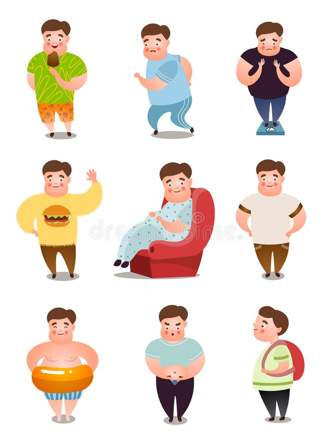 Set of fat man character in different daily situations or actions royalty free illustration