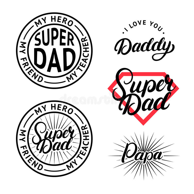 Set For Fathers Day Hand Written Lettering Labels Badges Design