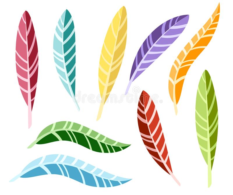 Set of feathers. Colorful bird feathers. Flat icon collection. Illustration isolated on white background vector illustration
