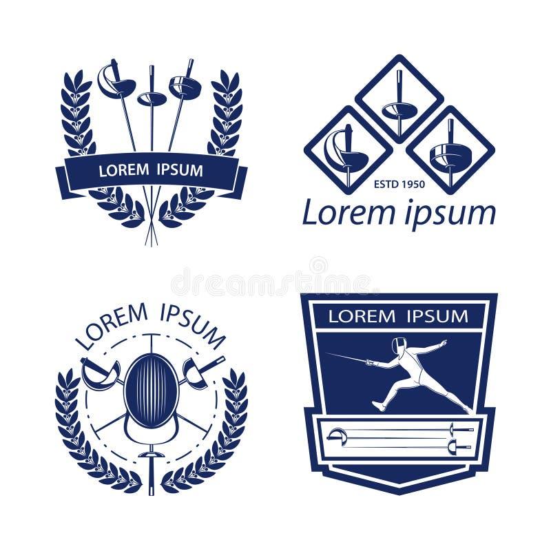 Set fechtunek bawi się logów, ikony, etykietki, emblematy, odznaki na białym tle ilustracja wektor