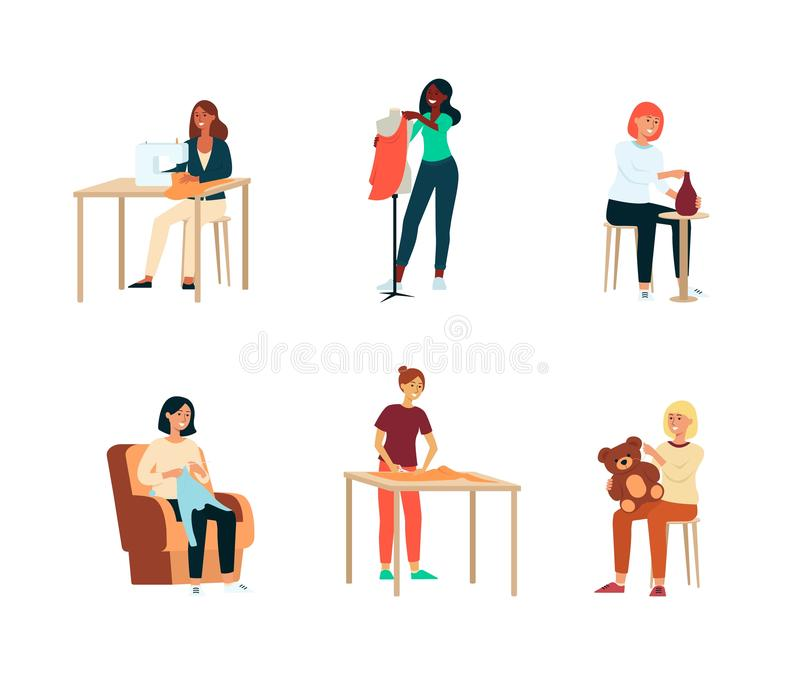 Set of female artisan hobbies or occupations cartoon style. Vector illustration isolated on white background. Collection of craftswomen who are pottering and stock illustration