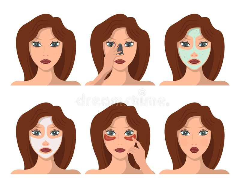 Set of female character having face spa procedures royalty free illustration