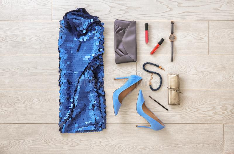 Set of female clothes and accessories royalty free stock photo