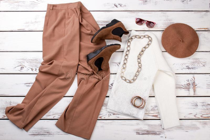 Set of female fashion apparel and accessories. stock photos