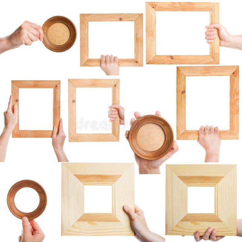 Set of female hands holding frames stock photo