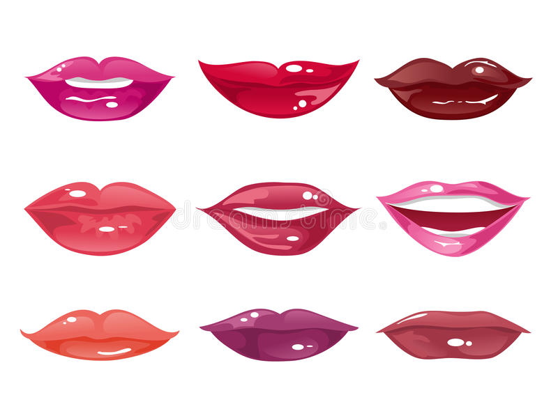 Set of female lips on a white background. Vector illustration royalty free illustration