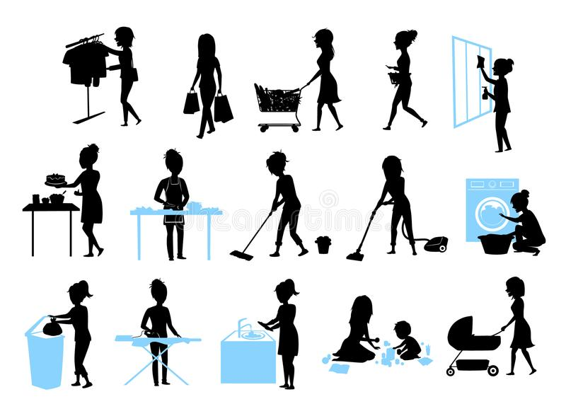 Set of female silhouette graphics at housework, household.woman cooking baking cleaning washing floor windows dishes, makes laund. Ry, iron, shopping, play teach stock illustration