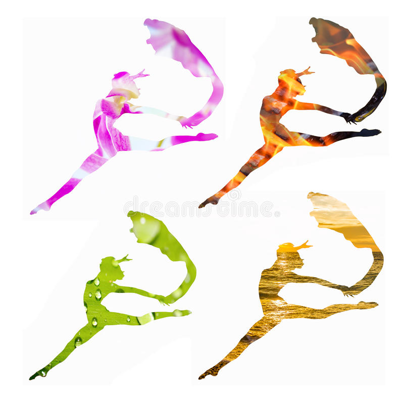 Set of 4 female silhouettes combined with green leaf, burning fi royalty free stock images