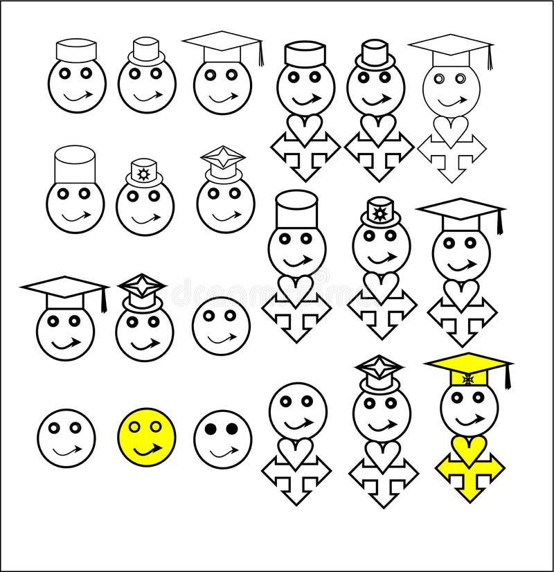 Set of female smiley icon. Illustration for health care ,business,toy factory, hospital or doctor`s home.Adult eye logo for lens manufacturer. child in egg royalty free illustration