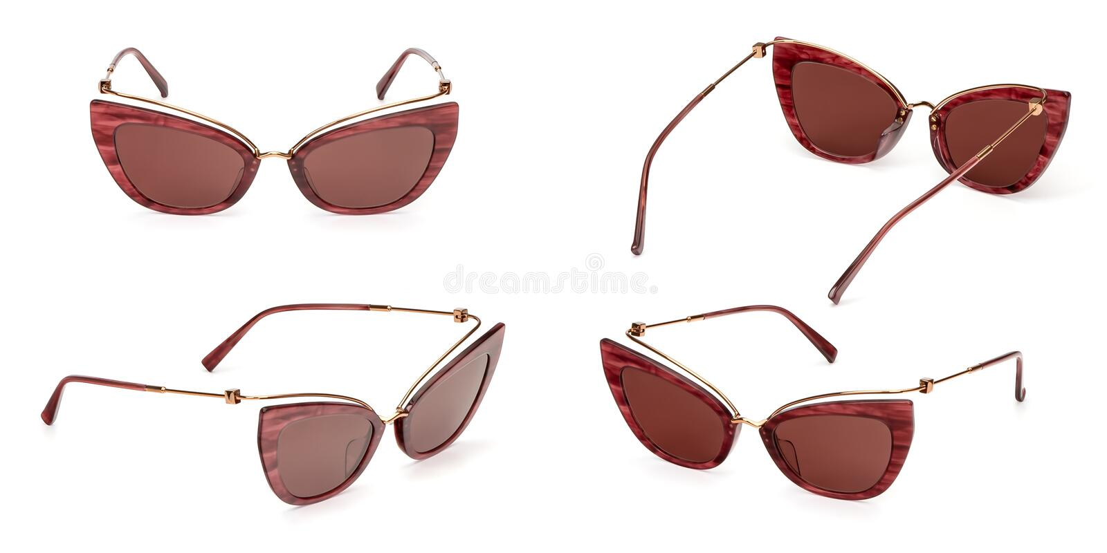 Set Female Vintage Coral Sun glasses isolated on white background. Collection fashion womens retro eye glasses royalty free stock photo