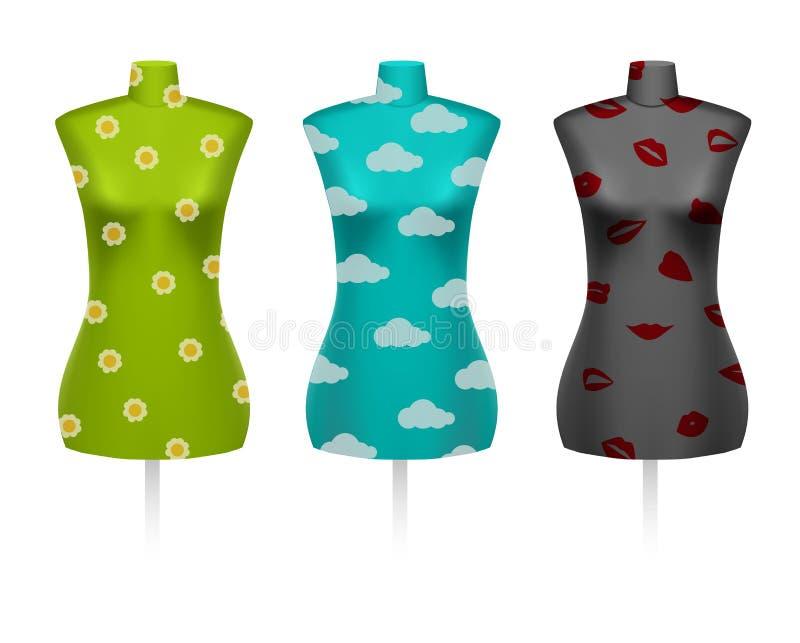Set of female vintage dressmakers tailors dummy mannequins vector illustration