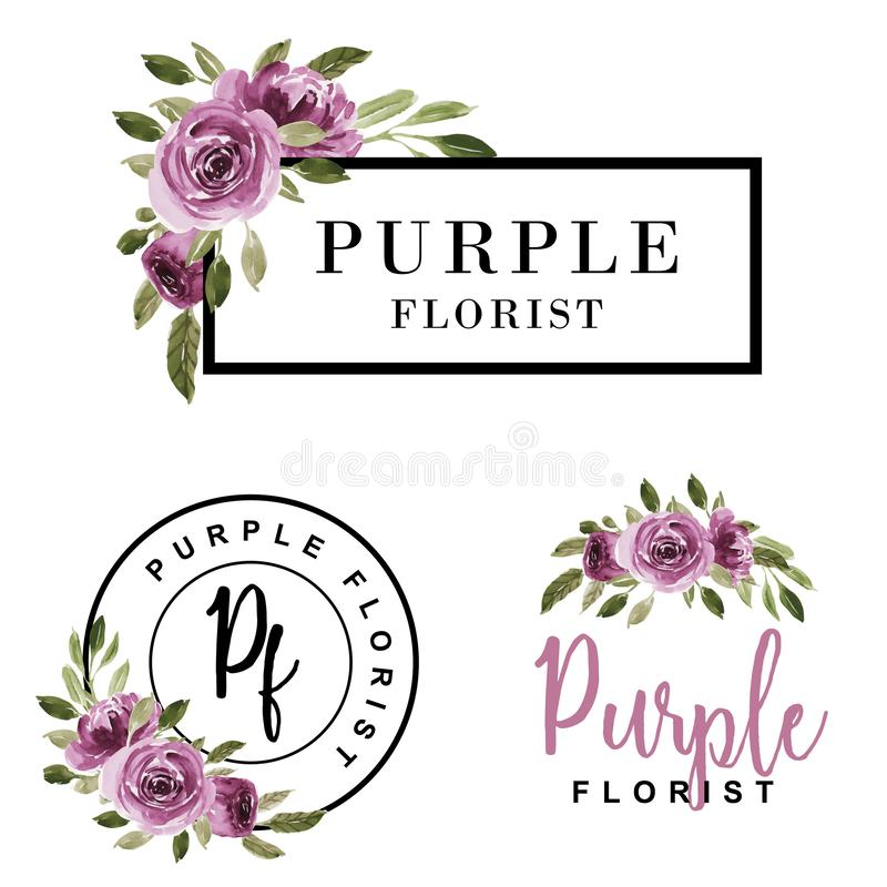 Set of feminine logo watercolor flower purple royalty free illustration
