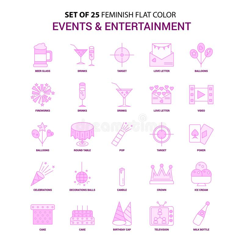 Set of 25 Feminish Events and Entertainment Flat Color Pink Icon. Set - This Vector EPS 10 illustration is best for print media, web design, application design vector illustration