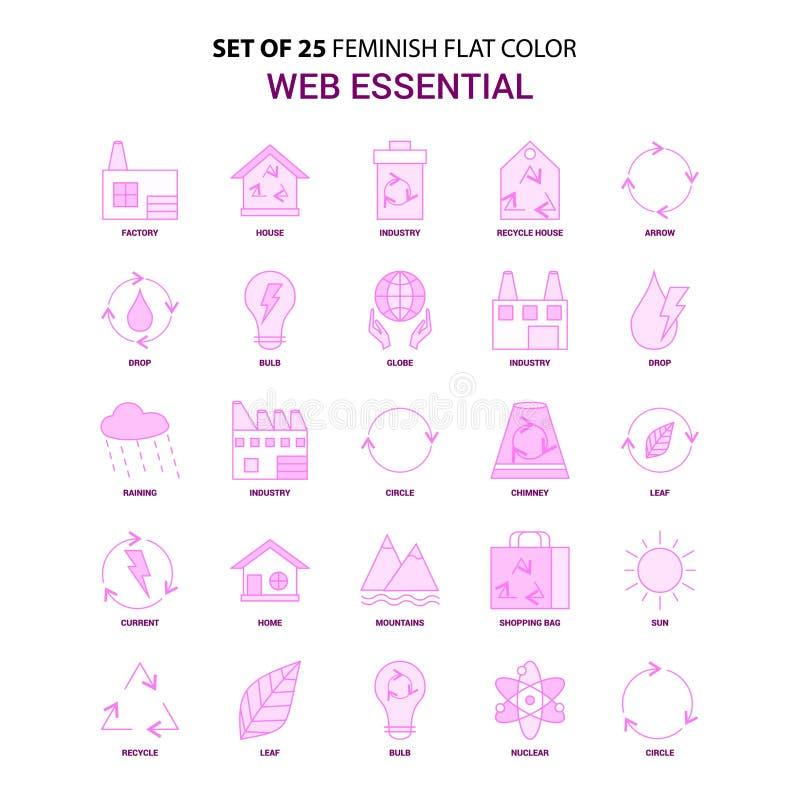 Set of 25 Feminish Web Essential Flat Color Pink Icon set stock illustration