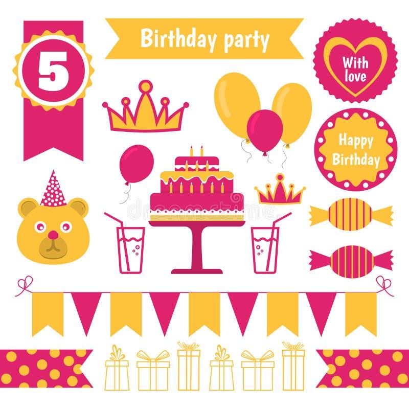 Set Of Festive Birthday Party Elements Flat Design Stock Vector