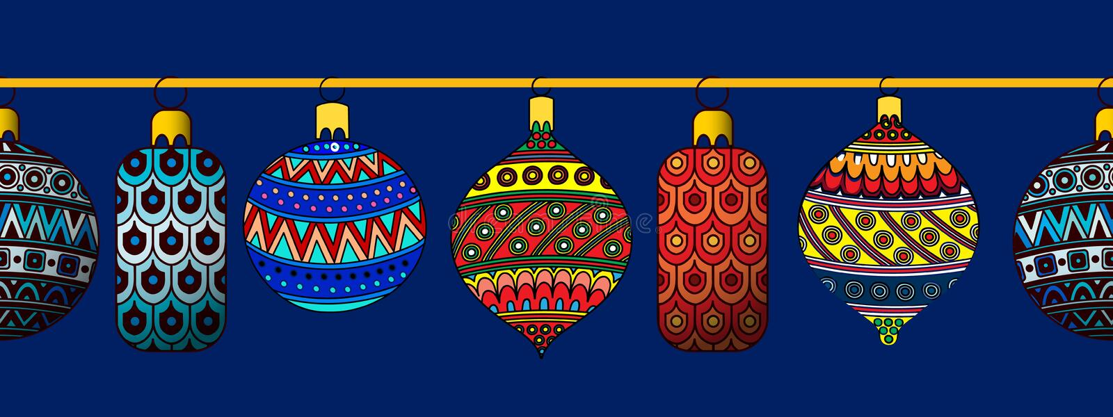 Set of festive Christmas toys. Vector illustration. stock image