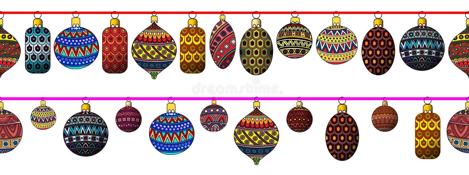 Set of festive Christmas toys. Vector illustration. stock photography