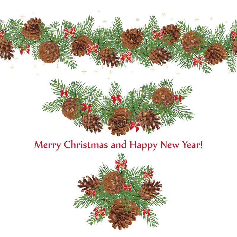 Set festive garlands of pine cones and bows decorated with stars stock illustration