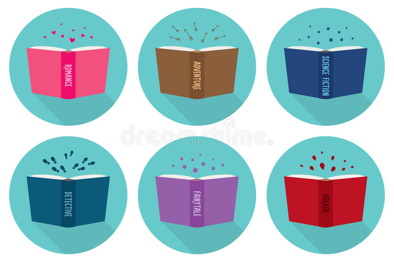 Set of fiction genre icons. Open books vector illustration