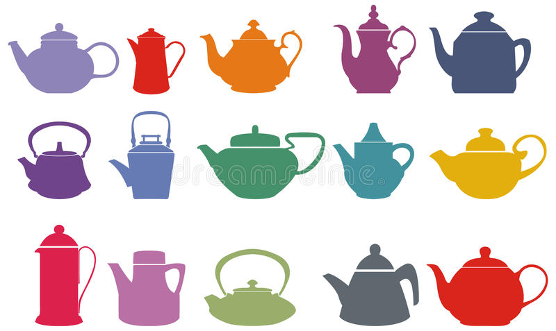 Set Of Fifteen Colorful Vector Teapots Stock Image