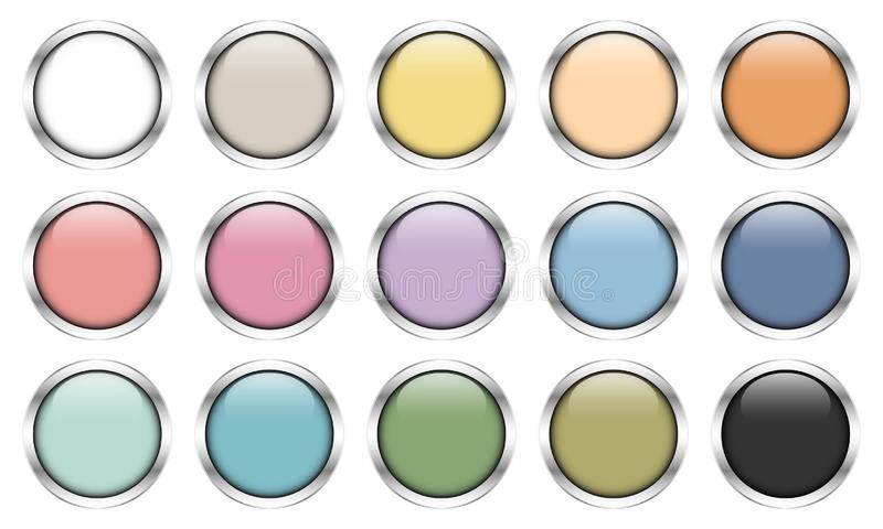 Set Of Fifteen Glossy Silver Buttons Retro Colors royalty free illustration