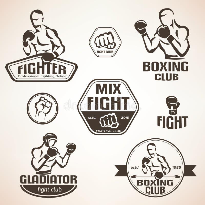 Set of fighting club emblems, MMA, boxing royalty free illustration