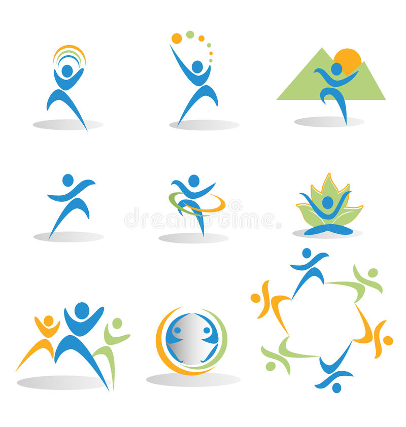 Set of figures in business and social icons logos royalty free illustration