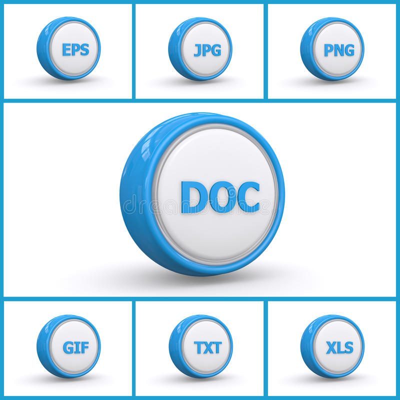 Set of file extension buttons